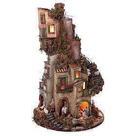 Tower Neapolitan nativity village 90x60 cm circular, for 10 cm nativity s3
