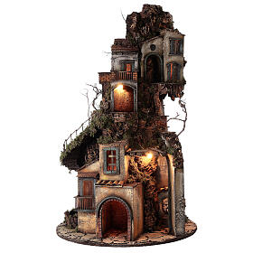 Tower Neapolitan nativity village 90x60 cm circular, for 10 cm nativity s1