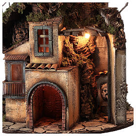 Tower Neapolitan nativity village 90x60 cm circular, for 10 cm nativity s2