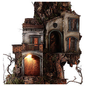 Tower Neapolitan nativity village 90x60 cm circular, for 10 cm nativity s3