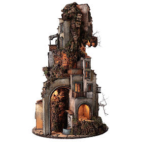 Tower Neapolitan nativity village 90x60 cm circular, for 10 cm nativity s4
