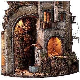 Tower Neapolitan nativity village 90x60 cm circular, for 10 cm nativity s5