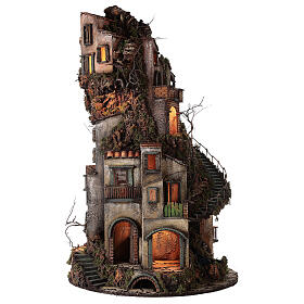 Tower Neapolitan nativity village 90x60 cm circular, for 10 cm nativity s6