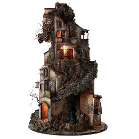 Tower Neapolitan nativity village 90x60 cm circular, for 10 cm nativity s8