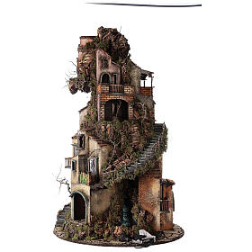 Tower Neapolitan nativity village 90x60 cm circular, for 10 cm nativity s11