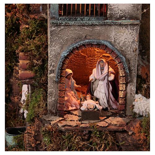 Tower Neapolitan nativity village 90x60 cm circular, for 10 cm nativity 2
