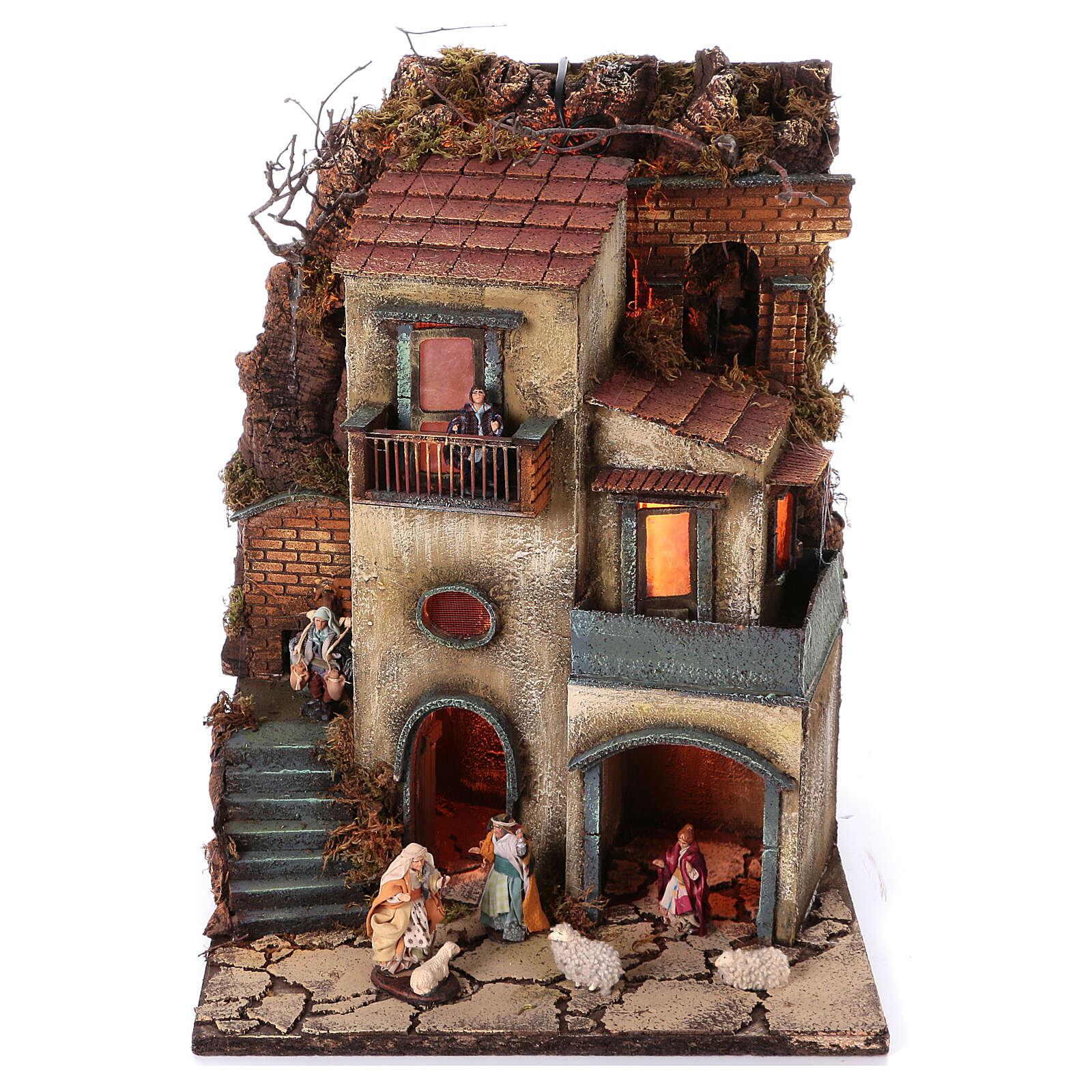 Complete nativity village modular set 55x245x40 cm with 8 cm statues 4
