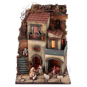 Complete nativity village modular set 55x245x40 cm with 8 cm statues s2