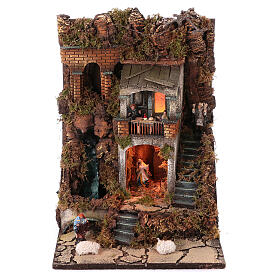 Complete nativity village modular set 55x245x40 cm with 8 cm statues s4