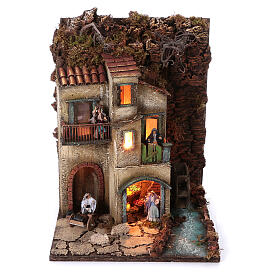 Complete nativity village modular set 55x245x40 cm with 8 cm statues s6