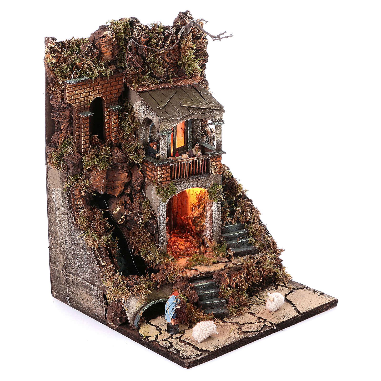 Borgo presepe modulare completo 55x245x40 con statuine di 8 cm 4