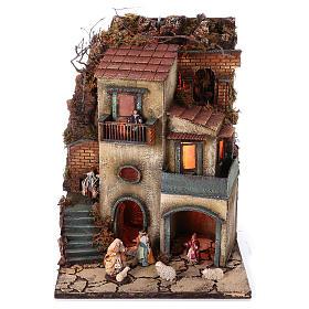 Borgo presepe modulare completo 55x245x40 con statuine di 8 cm s2