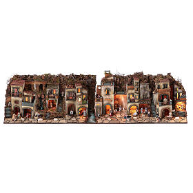 Complete nativity village modular set 55x245x40 cm with 8 cm statues s1