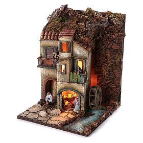Complete nativity village modular set 55x245x40 cm with 8 cm statues s5