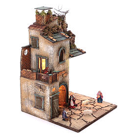 Complete nativity village modular set 55x245x40 cm with 8 cm statues s7