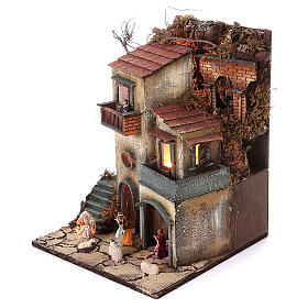 Complete nativity village modular set 55x245x40 cm with 8 cm statues s9