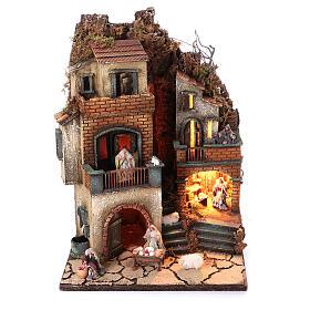 Complete nativity village modular set 55x245x40 cm with 8 cm statues s11