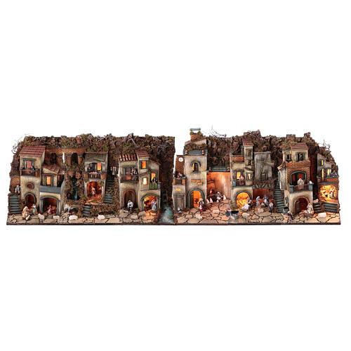 Complete nativity village modular set 55x245x40 cm with 8 cm statues 1