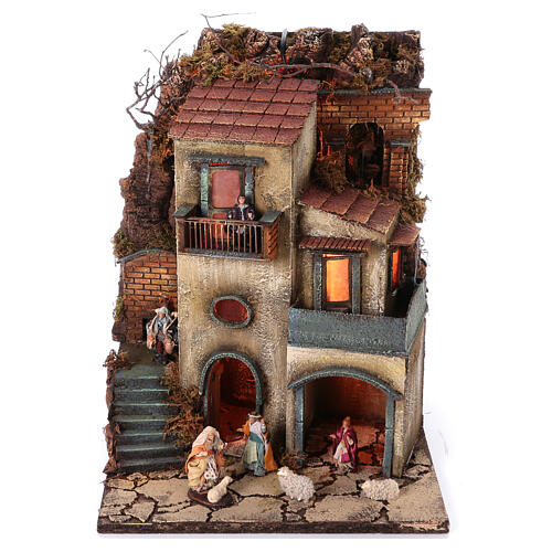 Complete nativity village modular set 55x245x40 cm with 8 cm statues 2