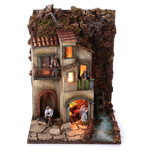 Complete nativity village modular set 55x245x40 cm with 8 cm statues 6