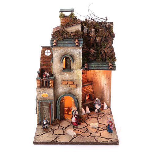 Complete nativity village modular set 55x245x40 cm with 8 cm statues 8