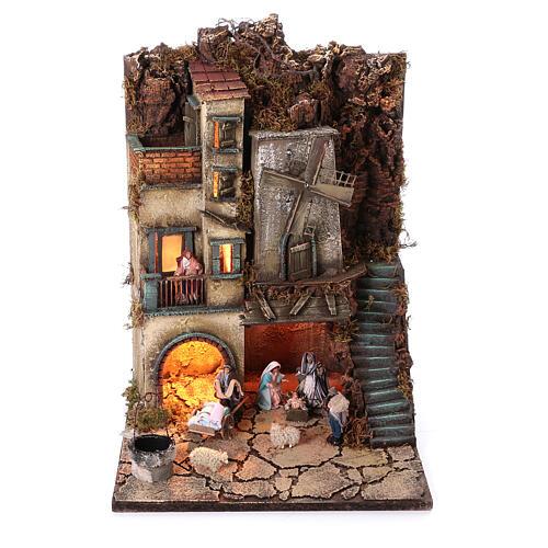 Complete nativity village modular set 55x245x40 cm with 8 cm statues 10