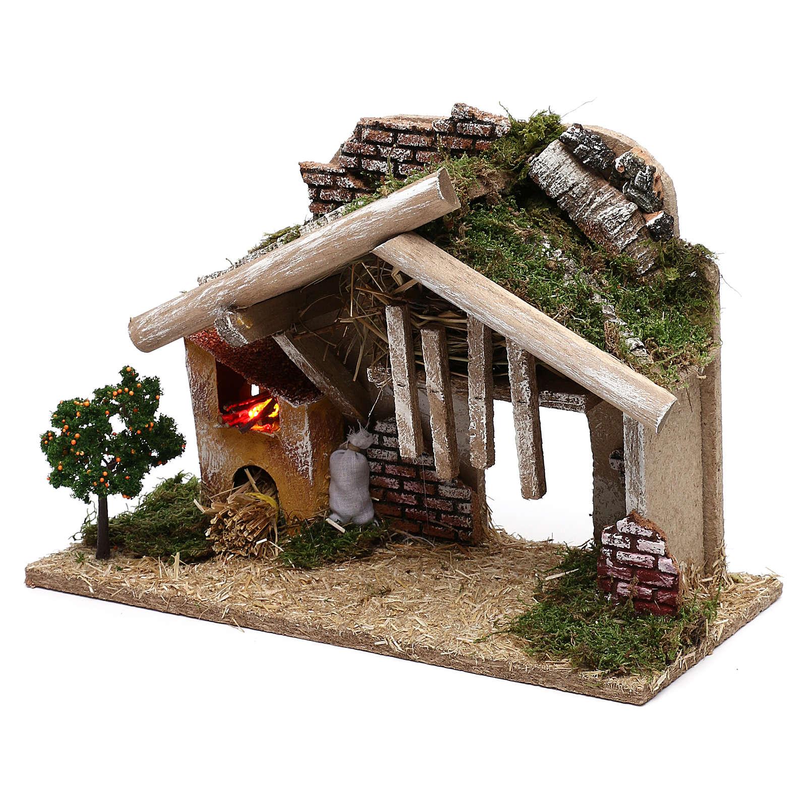 Cabane en bois avec four à LED 25x40x20 cm 4
