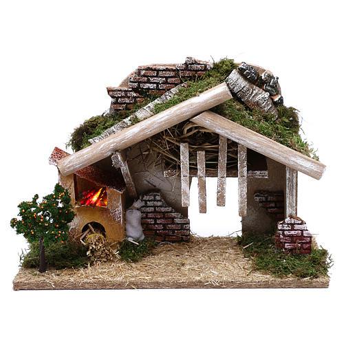 Cabane en bois avec four à LED 25x40x20 cm 1