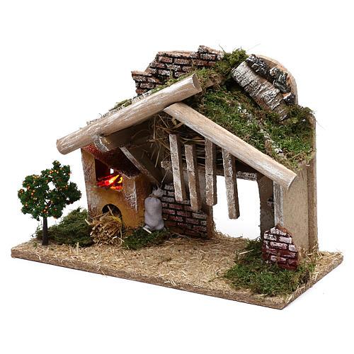 Cabane en bois avec four à LED 25x40x20 cm 2