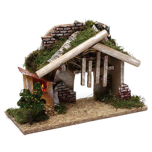 Cabane en bois avec four à LED 25x40x20 cm 3