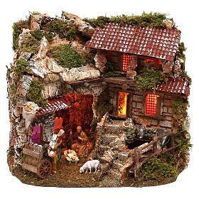 Cabanas e Grutas para Presépio: Cabana com fontanário e peças Moranduzzo 30x40x25 cm