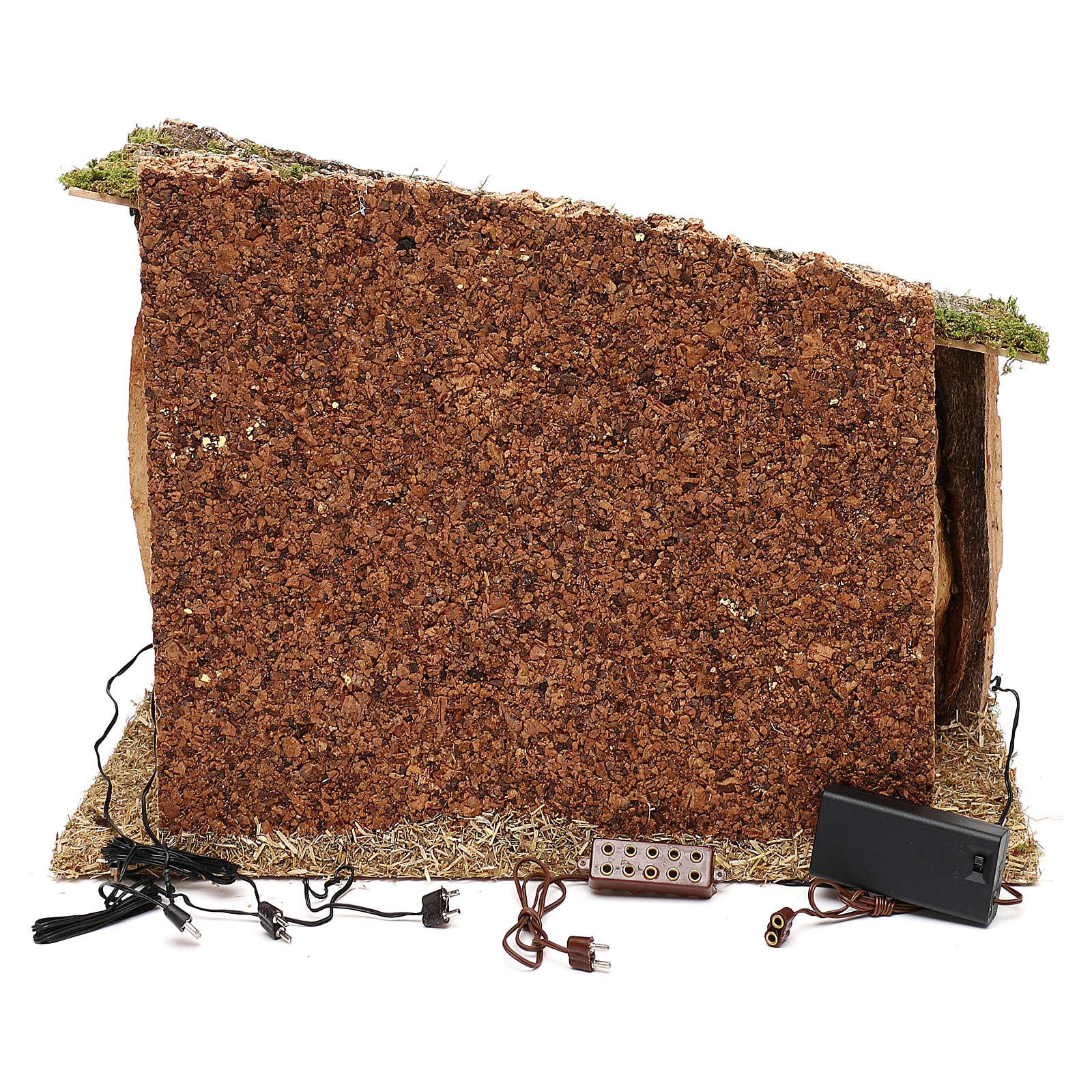 Cabane bois liège et mousse 30x40x30 cm 4