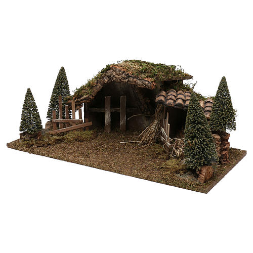 Wooden hut with barn and pines 20x60x25 cm 2