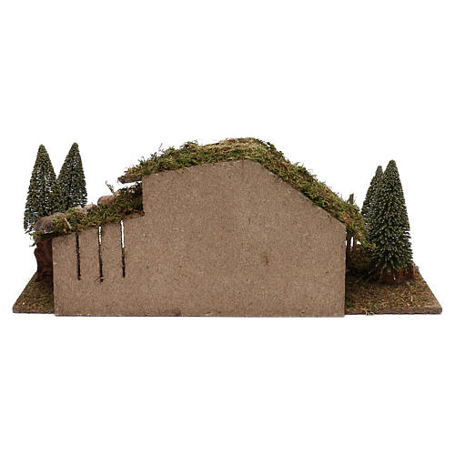 Wooden hut with barn and pines 20x60x25 cm 4