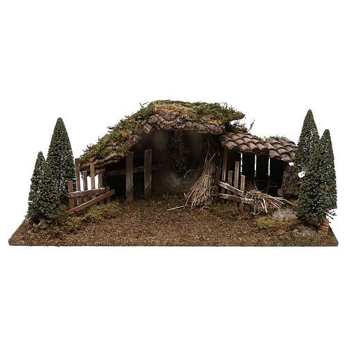 Cabane en bois fenil et sapins 20x60x25 cm 1
