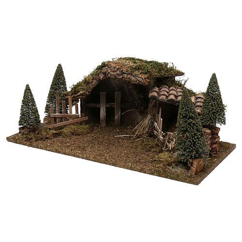 Cabane en bois fenil et sapins 20x60x25 cm 2