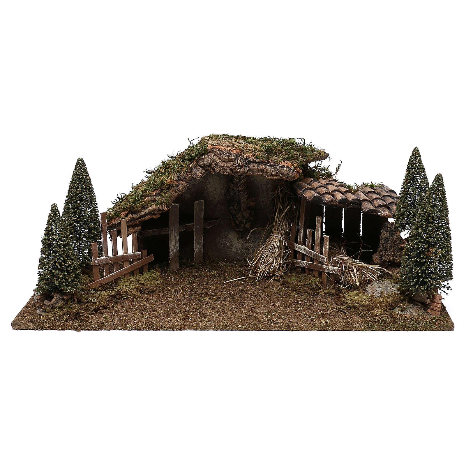 Capanna in legno fienile e pini 20x60x25 cm 4
