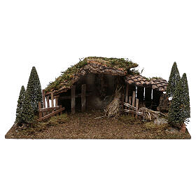 Wooden stable with hay and pine trees 20x60x25 cm s1