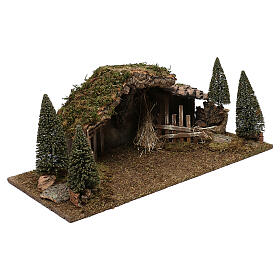 Wooden stable with hay and pine trees 20x60x25 cm s3