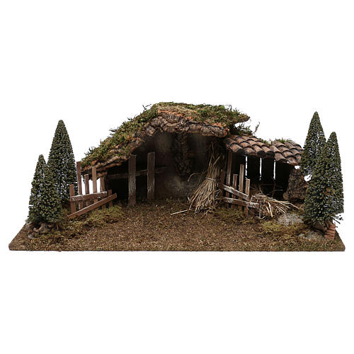 Wooden stable with hay and pine trees 20x60x25 cm 1