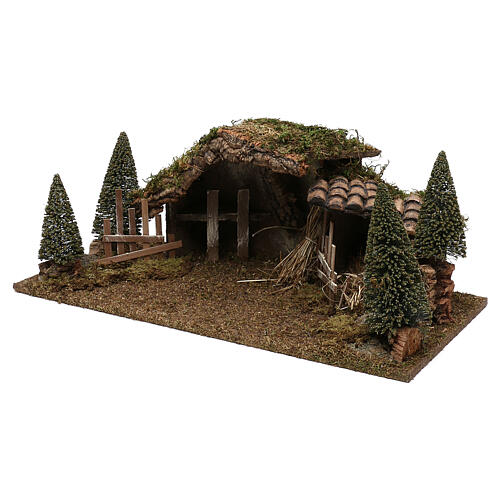 Wooden stable with hay and pine trees 20x60x25 cm 2