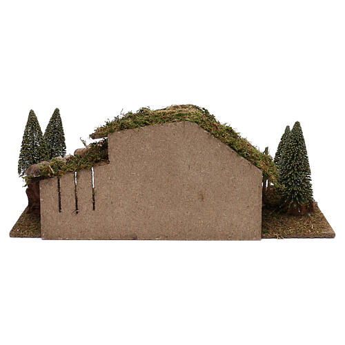 Wooden stable with hay and pine trees 20x60x25 cm 4
