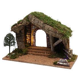 Cabane avec palissade en bois 40x30x20 cm s2