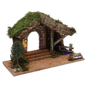 Cabane avec palissade en bois 40x30x20 cm s3