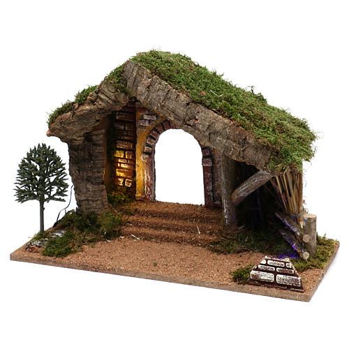 Cabane avec palissade en bois 40x30x20 cm 2