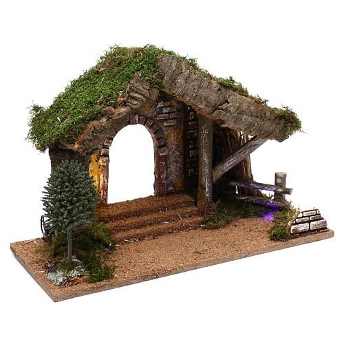 Cabane avec palissade en bois 40x30x20 cm 3