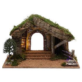 Cabanas e Grutas para Presépio: Cabana com cerca em madeira 40x30x20 cm