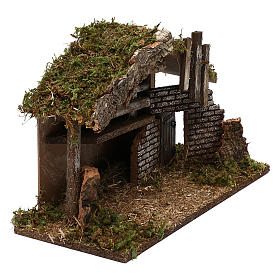 Hut for Nativity scene in wood and cork size 30x40x15 cm s3