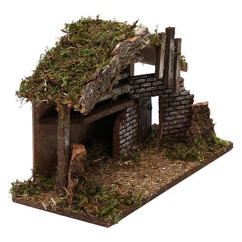 Hut for Nativity scene in wood and cork size 30x40x15 cm 3