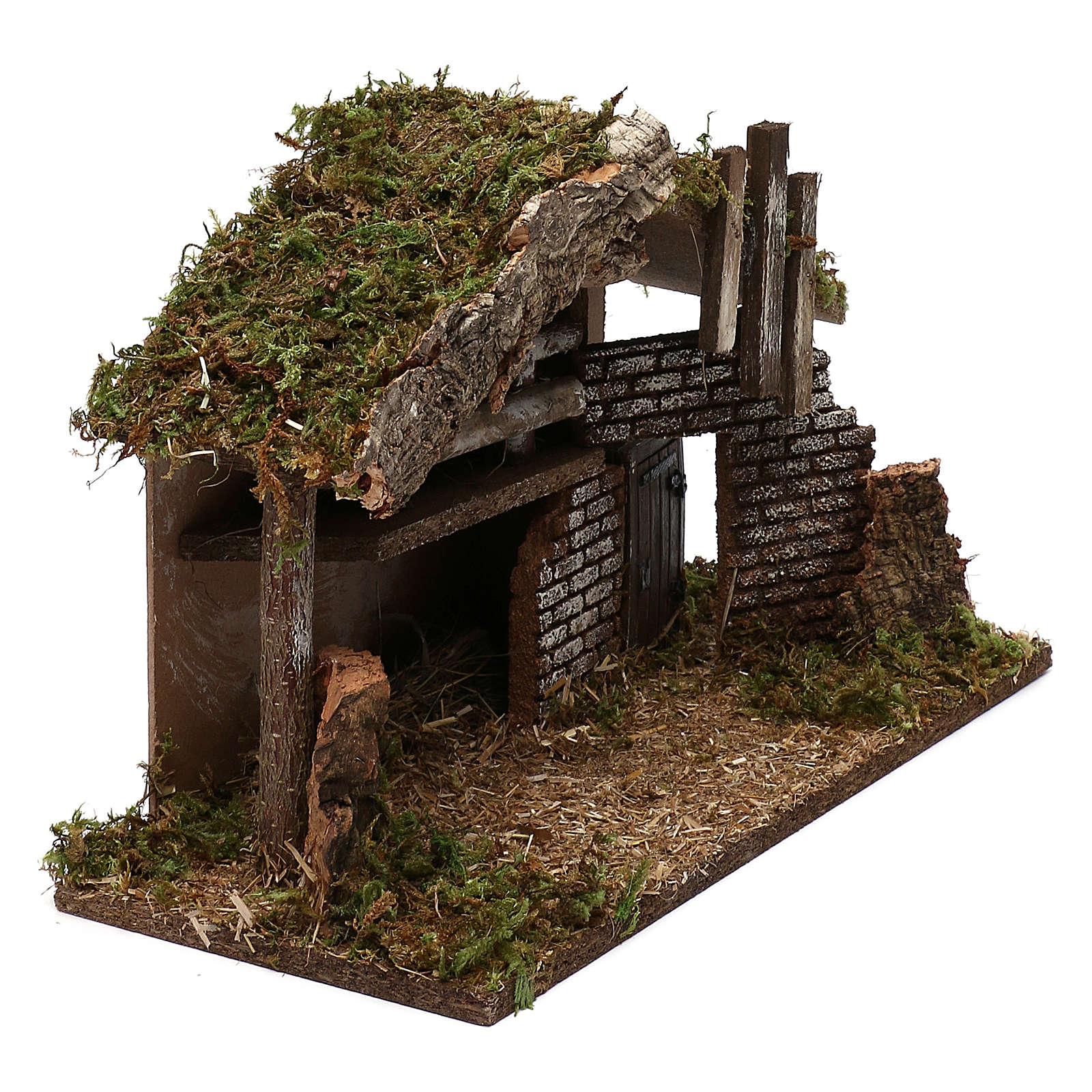 Cabaña para belén de madera y corcho 30x40x15 cm 4